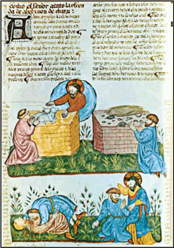 Biblia de Alba: Sacrificios de Caín y Abel