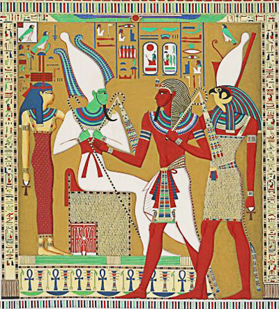 Horus guiando al faraon ante Osiris