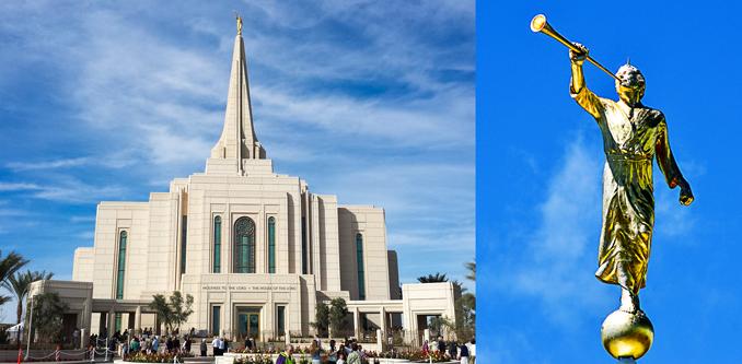 Templo Mormón en Arizona y Angel Moroni (derecha)