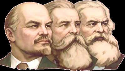 Vladímir Lenin, Friedrich Engels, y Karl Marx