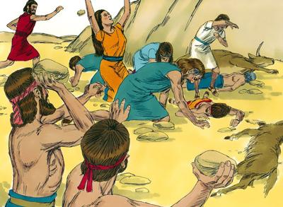 Acán y su familia fueron apedreados y luego sus cuerpos quemados.
