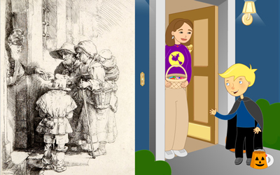 Antiguamente las personas que pedían limosna en las casas ofrecían rezar por los difuntos de ese hogar, y a cambio recibían alimentos. Esto fue el precursor de la costumbre de hoy en día.